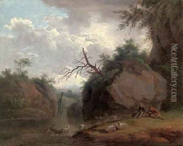 A wooded river landscape with shepherds and their flock Oil Painting - Christian Wilhelm Ernst Dietrich