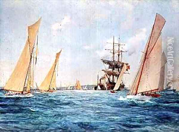 A Yacht Race Oil Painting - Charles Edward Dixon