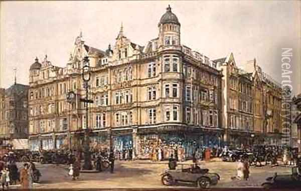 The Old Building Bourne and Hollingsworth Oxford Street Oil Painting - Charles Edward Dixon