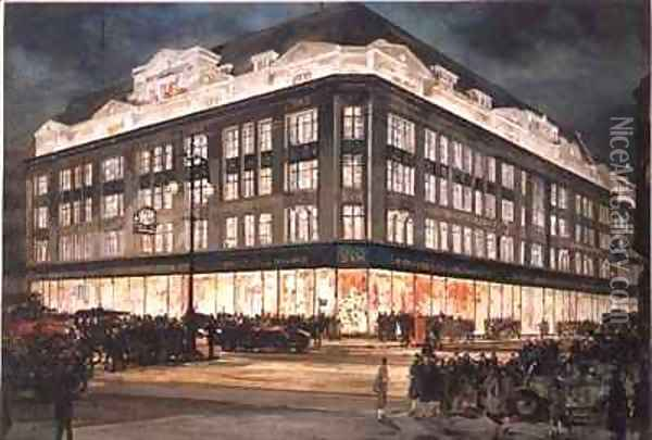 The New Building Bourne and Hollingsworth Oxford Street Oil Painting - Charles Edward Dixon