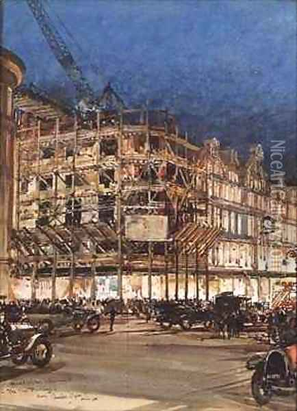 Construction of the New Building for Bourne and Hollingsworth Oil Painting - Charles Edward Dixon