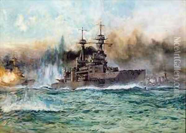 HMS Vanguard at The Battle of Jutland Oil Painting - Charles Edward Dixon