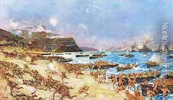 The Landing at Anzac Oil Painting - Charles Edward Dixon