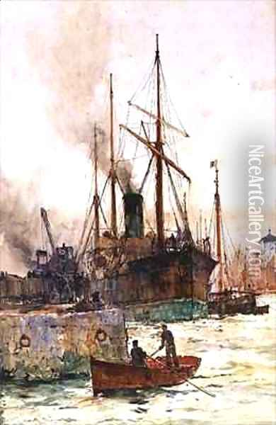 Discharging Coal Oil Painting - Charles Edward Dixon