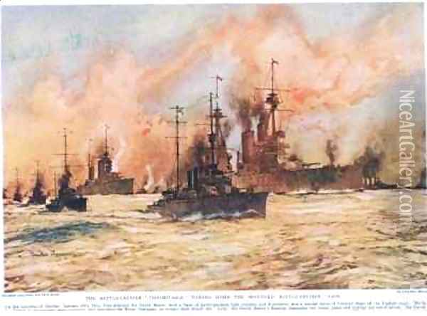 The Battle Cruiser Indomitable towing home the wounded Battle Cruiser Lion Oil Painting - Charles Edward Dixon