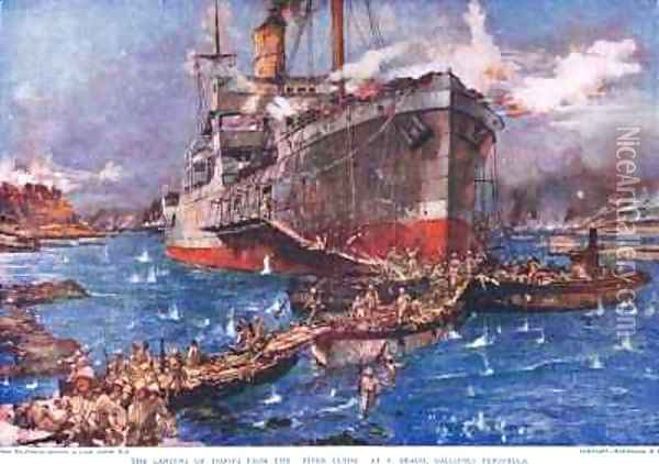 The Landing of troops from the River Clyde at V Beach Galipolli Peninsula Oil Painting - Charles Edward Dixon