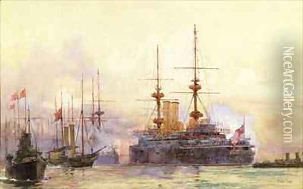 The Prince George at Spithead The Naval Requiem of Queen Victoria Oil Painting - Charles Edward Dixon