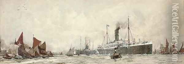 The R.M.S. Orontes outward-bound on her maiden voyage, 24th October, 1902 Oil Painting - Charles Edward Dixon