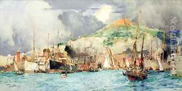 Shipping in Naples Oil Painting - Charles Edward Dixon