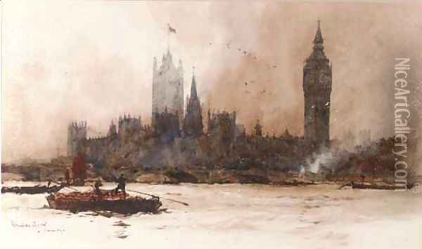 The Houses of Parliament, from the river Thames Oil Painting - Charles Edward Dixon