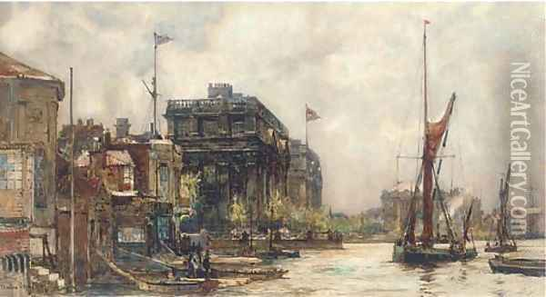 Barges on the Thames before Greenwich Hospital Oil Painting - Charles Edward Dixon