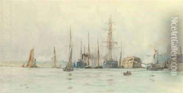 Hulks and other shipping moored at a wharf Oil Painting - Charles Edward Dixon
