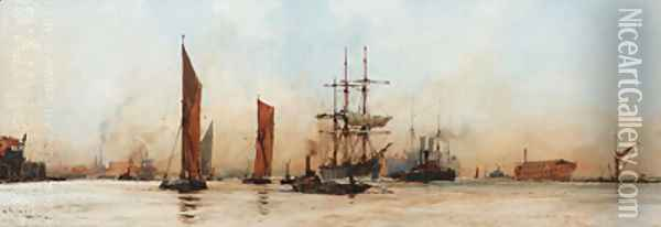 Off the Albert Docks Oil Painting - Charles Edward Dixon