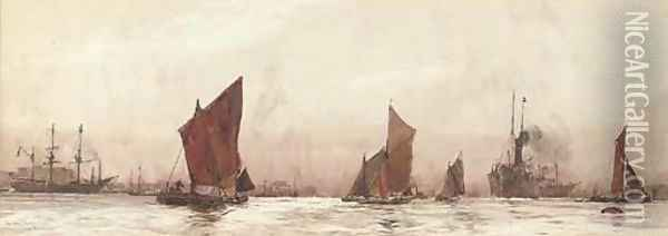 The lower Thames Oil Painting - Charles Edward Dixon