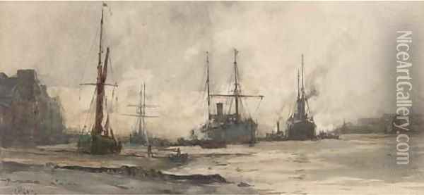Off Rotherhithe Oil Painting - Charles Edward Dixon