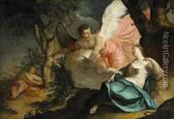 An Angel Appears To Hagar And Ishmael Oil Painting - Sebastiano Ricci