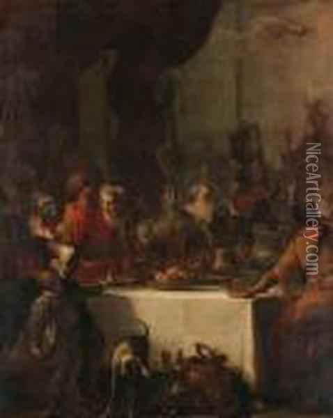 Belshazzar's Feast; And Jephthah's Daughter Saying Farewell To Herfriends Oil Painting - Sebastiano Ricci
