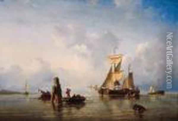 Moored Sailingvessels In A Sunlit Estuary Oil Painting - Ary Pleysier