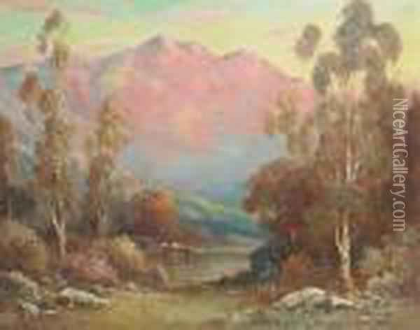 Cattle Watering With Pink Mountains In The Distance Oil Painting - Alexis Matthew Podchernikoff