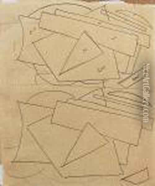 Design For An Exhibition Poster (recto), Studies For A Linocut (verso) Oil Painting - Lyubov Popova