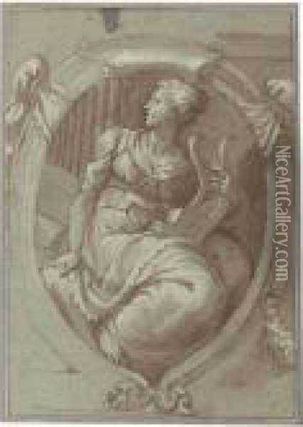 Design For A Decorative Panel With An Allegorical Figure Of Music Oil Painting - Giuseppe Salviati