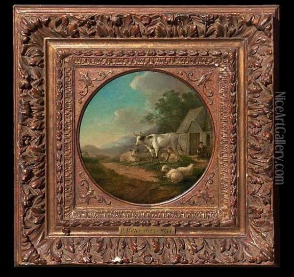 Copy After: Cattle By Small  Farm, In The Background Mountains. Unsigned. Oil On Plate. Diam. 18,5 Cm Oil Painting - Paulus Potter