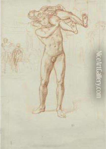 Study For Diomedes Carrying The Palladium From Troy Oil Painting - Sir Edward John Poynter
