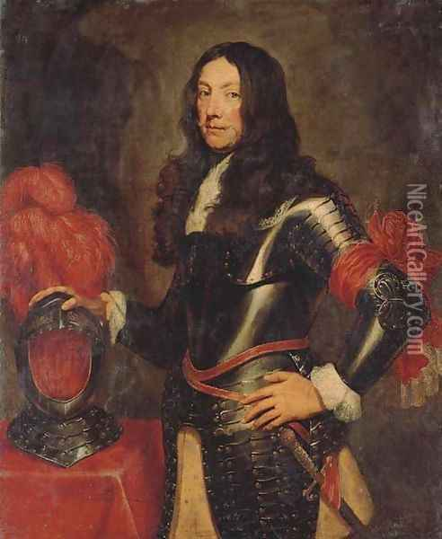 Portrait of a gentleman in armour, three-quarter-length, with a plumed helmet on a table beside Oil Painting - Sir Anthony Van Dyck