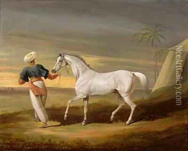 Signal a grey Arab with a Groom in the Desert Oil Painting - David of York Dalby