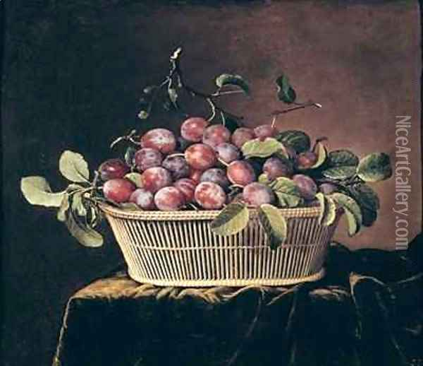 Basket of Plums Oil Painting - Pierre Dupuis