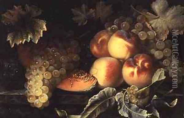 Still Life with Peaches Melon and Grapes Oil Painting - Pierre Dupuis
