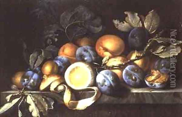 Still Life with Plums and a Peeled Lemon Oil Painting - Pierre Dupuis