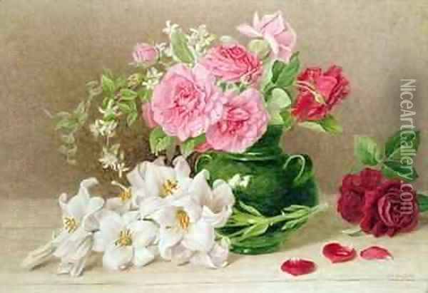 Roses and Lilies Oil Painting - Mary Elizabeth Duffield