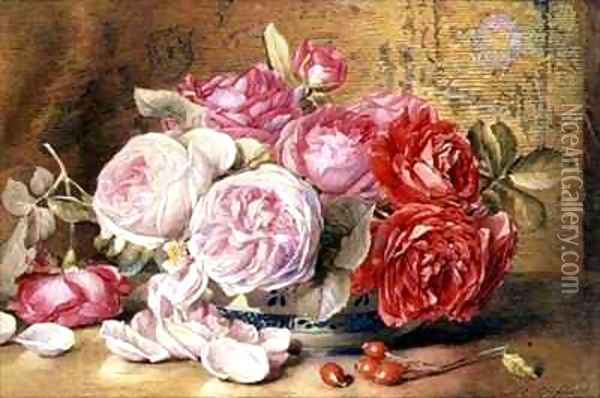 Pink and Red Roses in a Bowl Oil Painting - Mary Elizabeth Duffield
