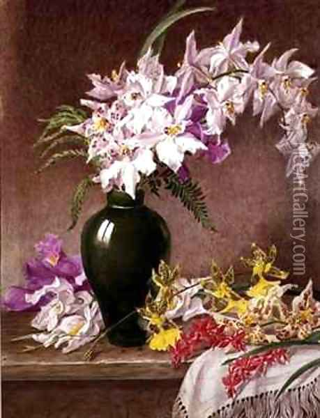 Orchids in a Vase Oil Painting - Mary Elizabeth Duffield