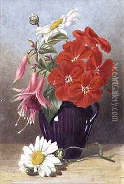 Geraniums and Fuchsias in Glazed Purple Jug Oil Painting - Mary Elizabeth Duffield