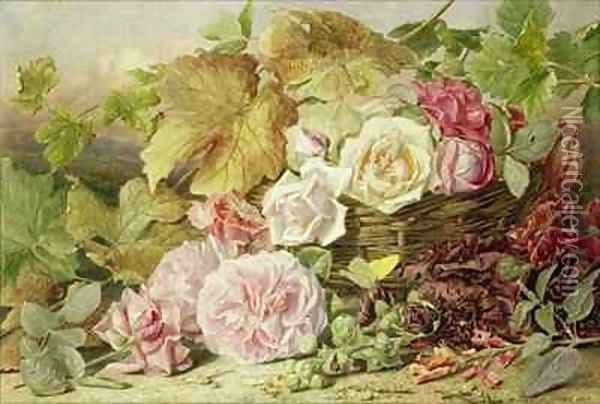 Peonies Roses and Hollyhocks Oil Painting - Mary Elizabeth Duffield
