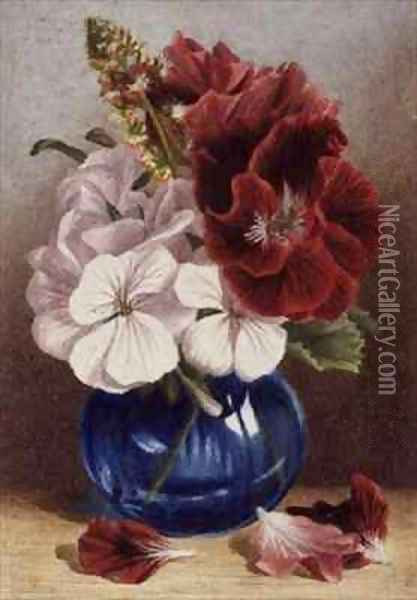 Claret and White Pelargoniums in a Blue Vase Oil Painting - Mary Elizabeth Duffield