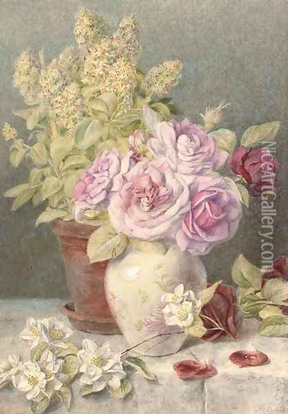 Giant mignionette and roses Oil Painting - Mary Elizabeth Duffield