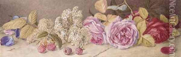 Roses and spiroea Oil Painting - Mary Elizabeth Duffield