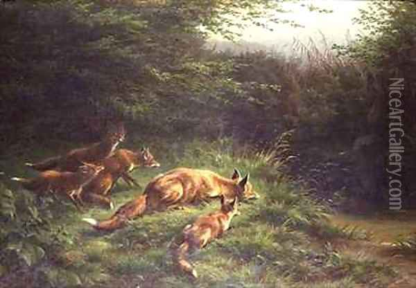 Foxes waiting for the prey Oil Painting - Carl Friedrich Deiker