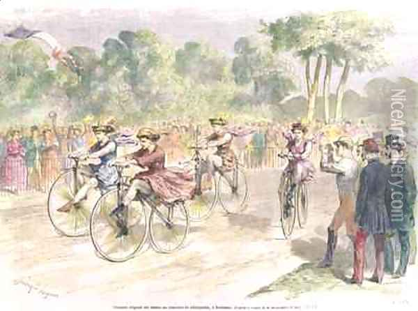 Original Costumes for the Velocipede Race in Bordeaux Oil Painting - Godefroy Durand
