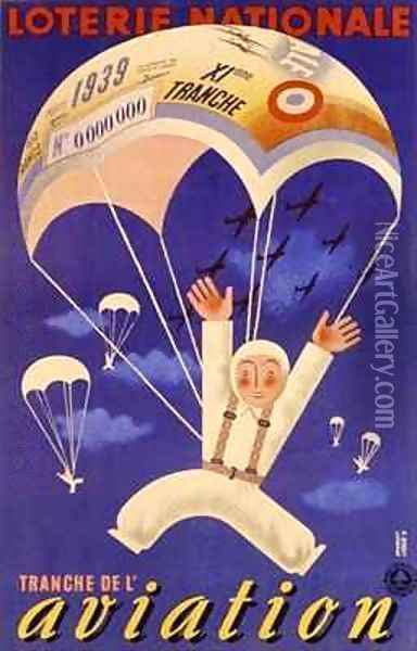 Poster advertising the French National Lottery special issue to help the Air Force Oil Painting - Derouet-Lesacq