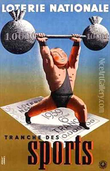 Poster advertising a French National Lottery special issue to help sports Oil Painting - Derouet-Lesacq