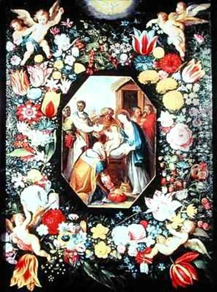 Adoration of the Magi framed in a garland of flowers Oil Painting - Andries Daniels or Danielsz