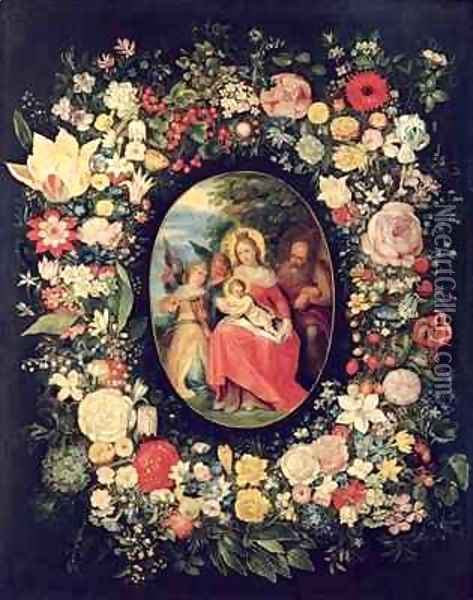The Holy Family Framed by a Garland of Flowers Oil Painting - Andries Daniels or Danielsz