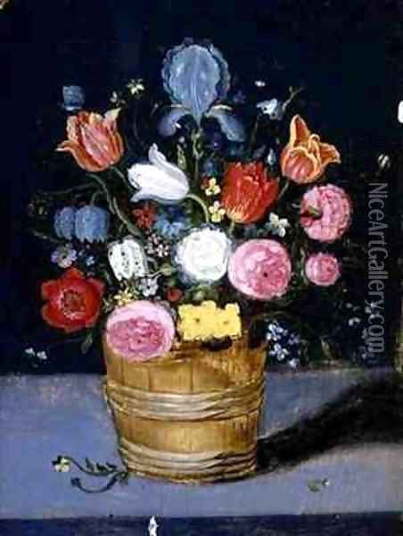 Still Life of Flowers in a Wooden Tub Oil Painting - Andries Daniels or Danielsz