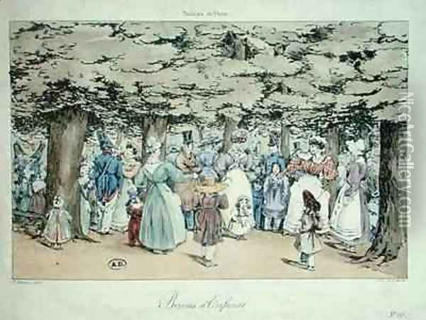 Children and Nannies in the Park from the Tableau de Paris series Oil Painting - Delarue, Fortune