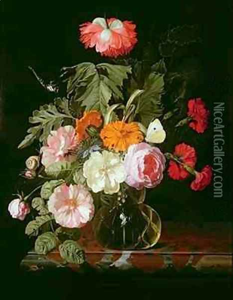 Roses peonies and love in a mist in a glass vase with a white butterfly Oil Painting - Isaak Denies