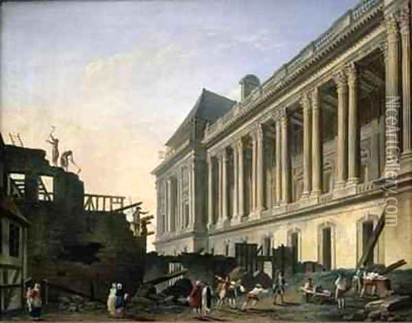 The Clearing of the Louvre colonnade Oil Painting - Pierre-Antoine Demachy